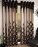 Home Sizzler 4 Piece Eyelet Polyester Curtain Set - 8ft, Brown