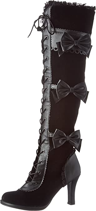 Pleaser Glam-300 Over Knee Black Velvet Boots Heels Fancy Dress Lace Up Lolita