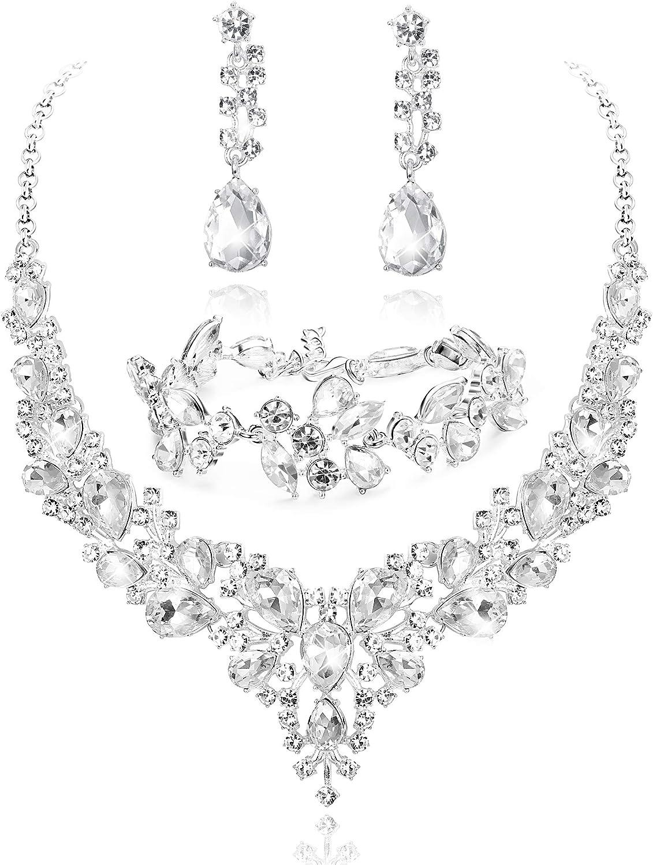 Black jewellery choker set diamante rhinestone bling sparkly prom party 406