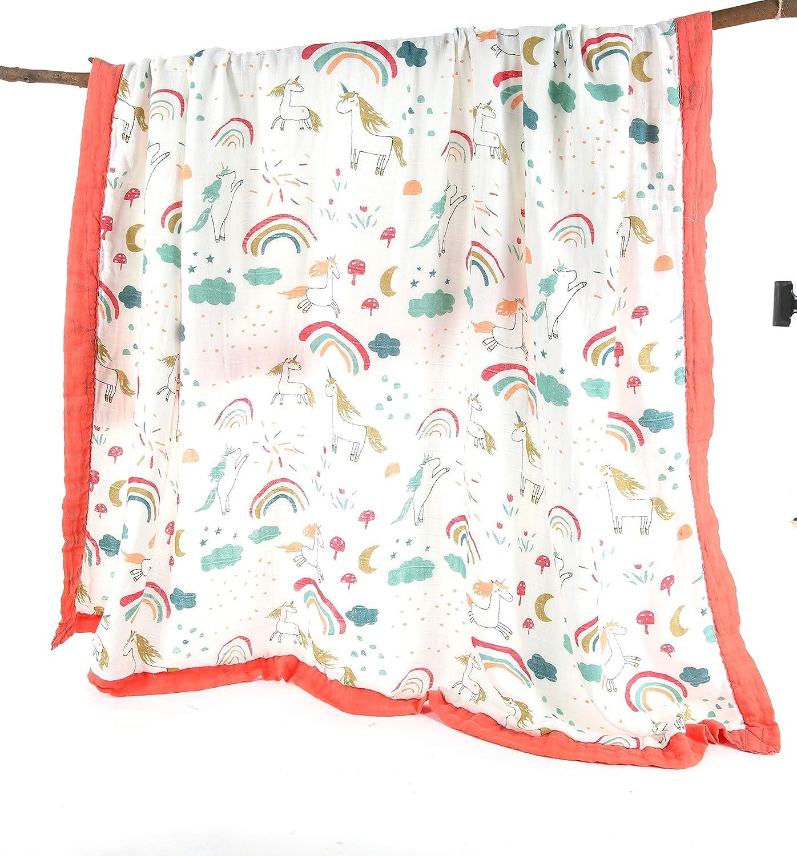 f/ür Neugeborene bis zu 5 Jahre Bambus vorgewaschen extra dick extra gro/ß Handtuch 4-lagig Musselin-Wickeldecke 120 x 120 cm ultra-weich atmungsaktiv