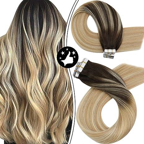 Image of Moresoo Extensiones Adhesivas Naturales Liso Marron Oscuro #2 to Rubio #27 Mixed #613 Bleach Blonde 100% Remy Human Hair 14 Pulgadas 20 pcs 50g Skin Weft Tape Hair Extensiones de Cabello