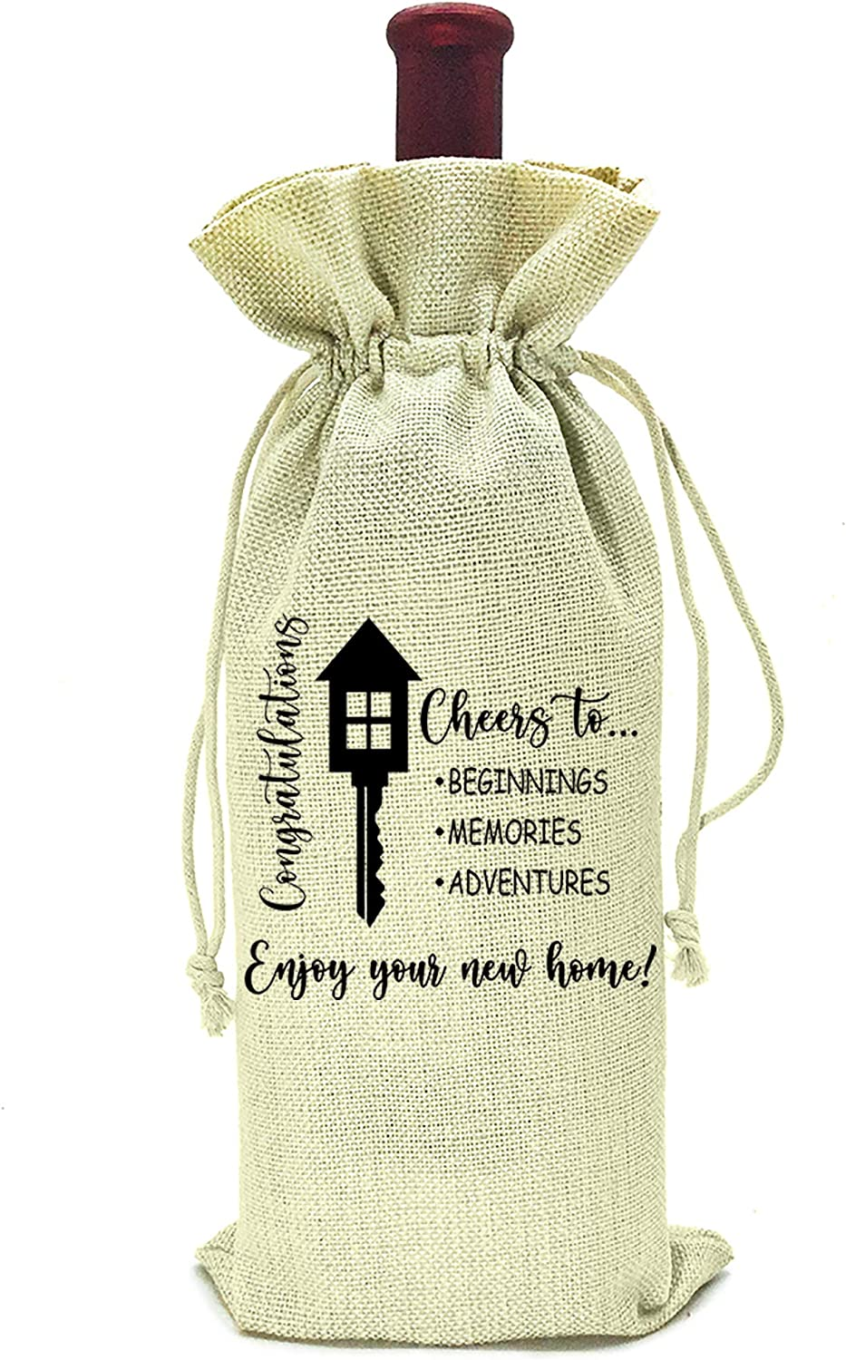 Housewarming Gifts,First New Home House Homeowner Gifts for Men, Women, mom,dad,daughter,son, Friends, Coworkers,Sweet home, New Home,new adventure,new memories,wine bag