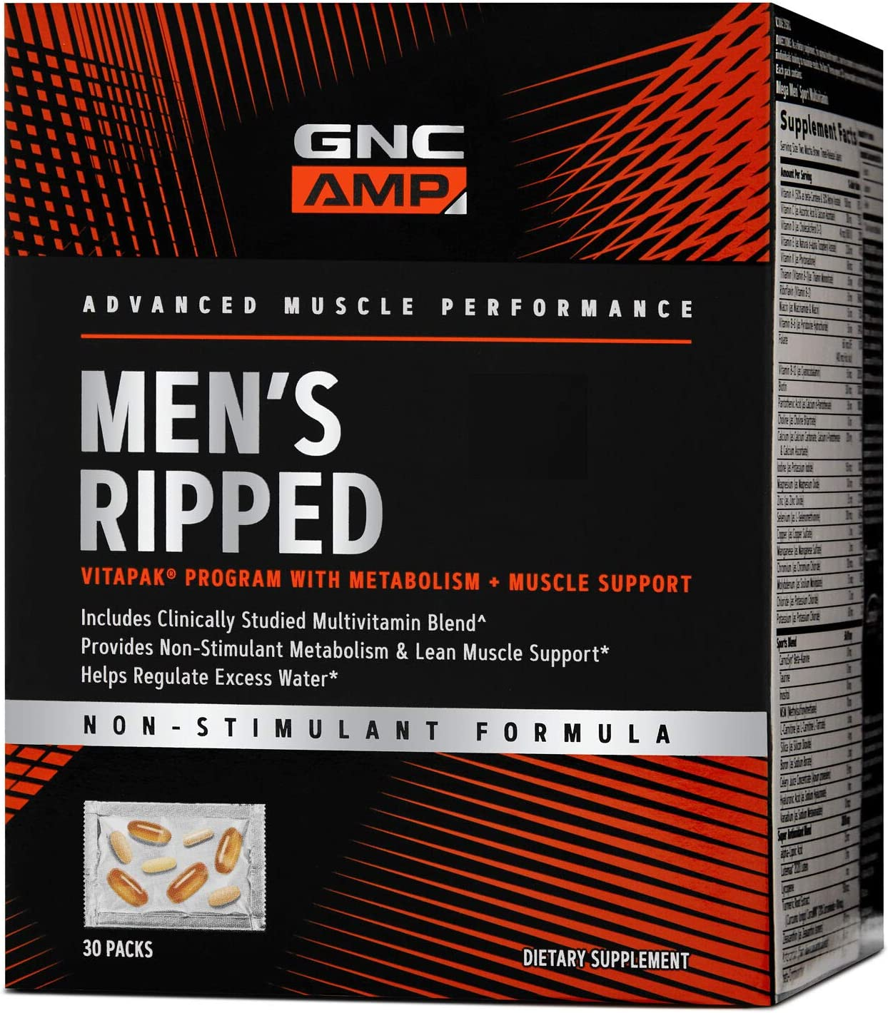 GNC AMP Men's Ripped Vitapak - 30 Packs, Metabolism and Muscle Support