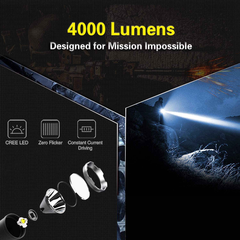 4000 lumens tactical flashlight