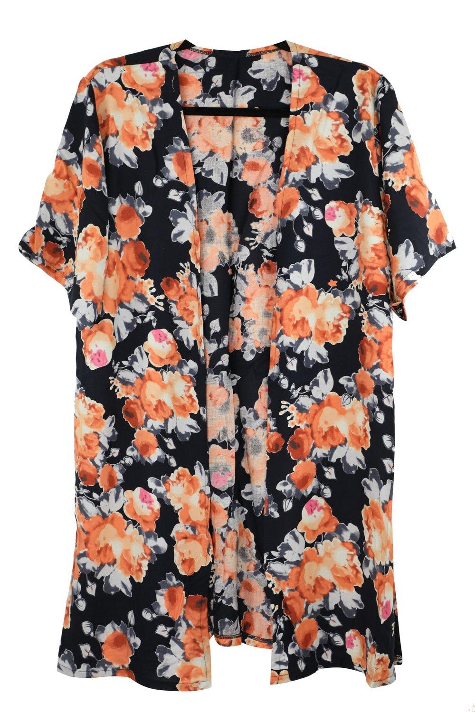 Achillea Floral Boho Kimono Cardigan Blouse Top Summer Evening Cover-up (Black Orange Floral)