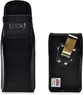product image for Galaxy S10e Belt Case, Turtleback Vertical Galaxy S10e Holster, Black Leather Pouch with Heavy Duty Rotating Belt Clip, Made in USA