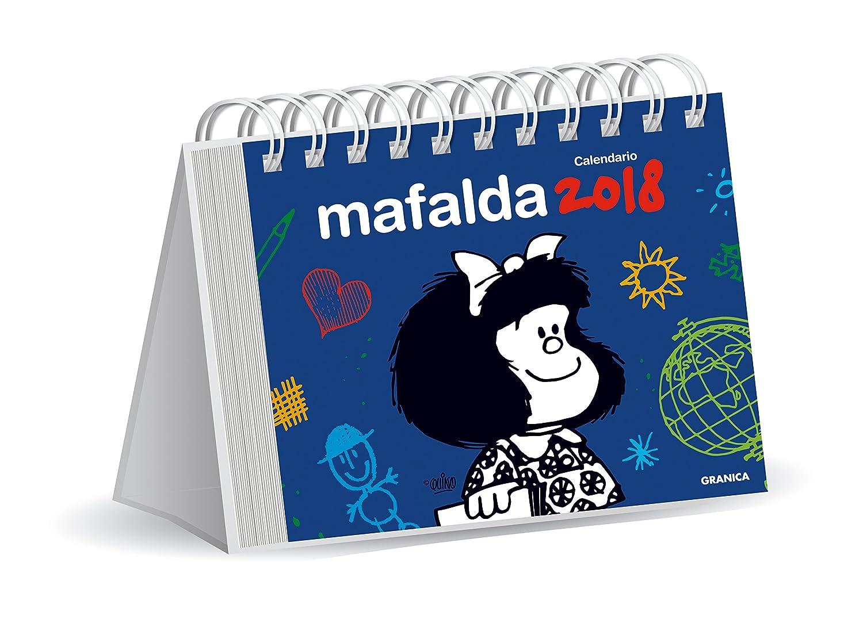 Granica Mafalda - Calendario de escritorio 2018, color azul: Amazon.es: Oficina y papelería