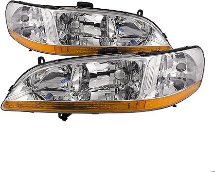 Headlightsdepot Compatible With Honda Accord Chrome Headlights Headlamps New Pair Set