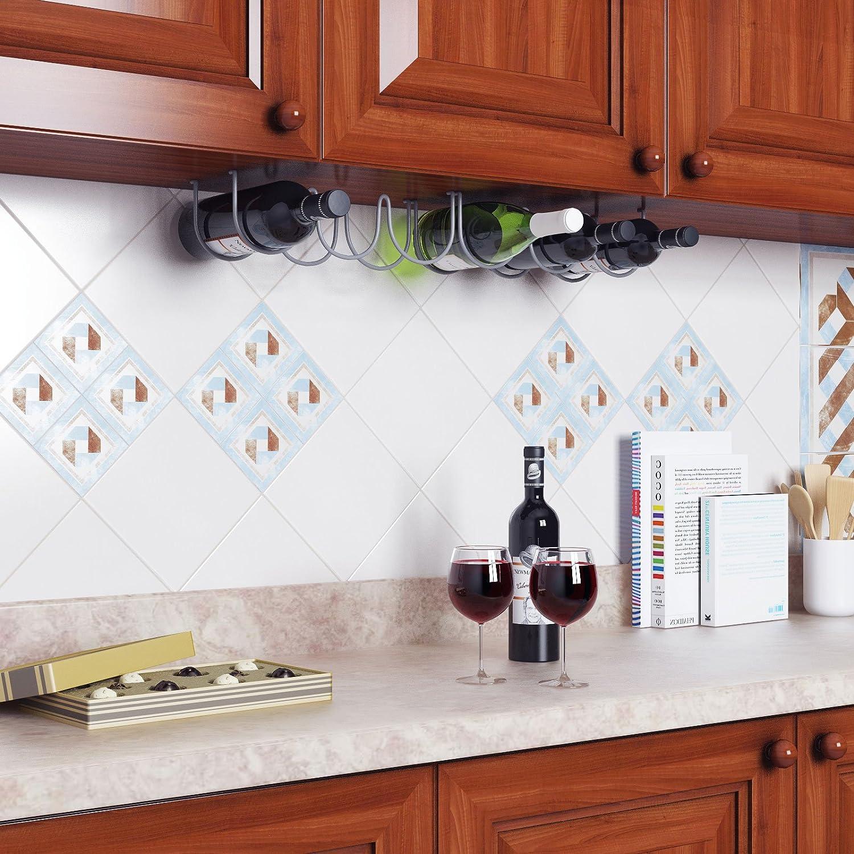 Amazon.com: Wallniture Under Cabinet Durable Iron Wine Storage Rack ...