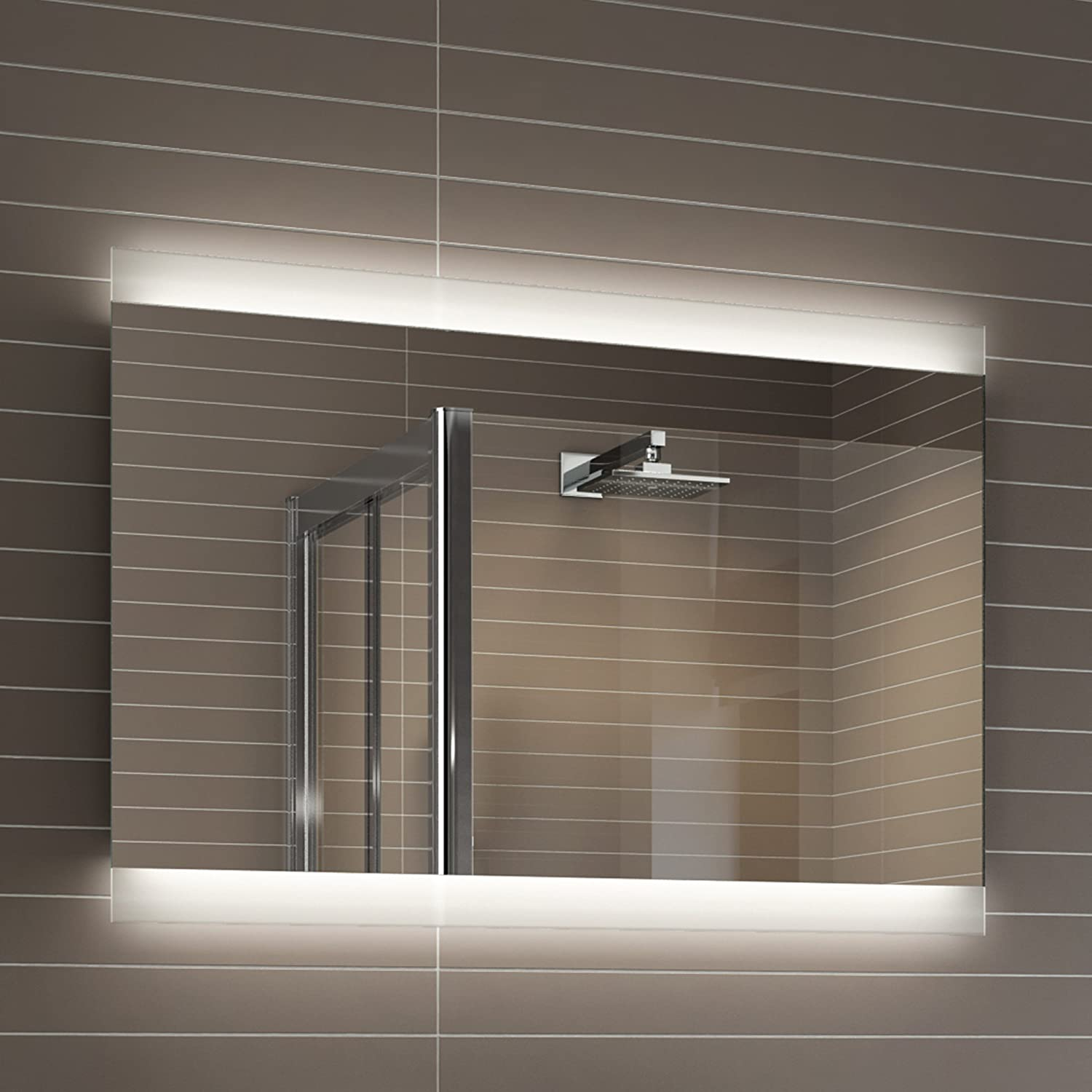 Bathroom mirrors with led lights - 700 X 500 Mm Designer Illuminated Led Bathroom Mirror Light Sensor Demister Ml5001