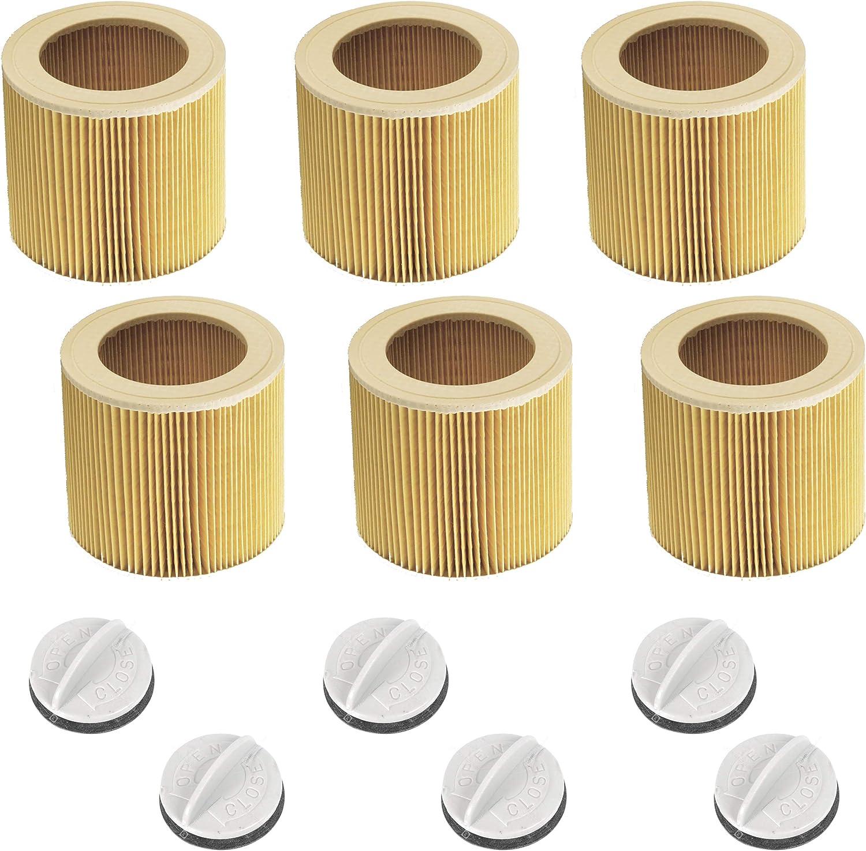 6 filtros de cartucho originales y tapas de ONE! Adecuado para todos los aspiradores húmedos/secos de Kärcher WD2 MV2 WD3 MV3 A2054 A2201 A2204 como Kaercher 6.414-552.0 y 4.075-012.0 - Made in