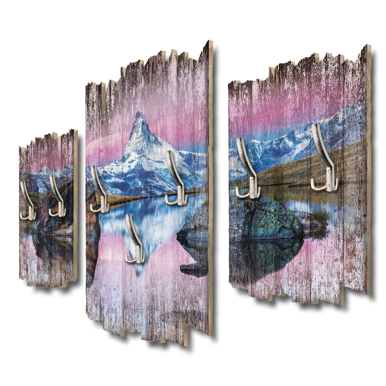 Kreative Feder Matterhornpanorama Designer Wandgarderobe Flurgarderobe Wandpaneele 95 x 60 cm aus MDF DTGH075
