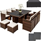 TecTake Ensemble Salon de jardin en Résine Poly Rotin Aluminium Table Set 6+1+4 avec deux set de housses + housse de protection, vis en acier inoxydable - diverses couleurs au choix - (Noir-Marron)