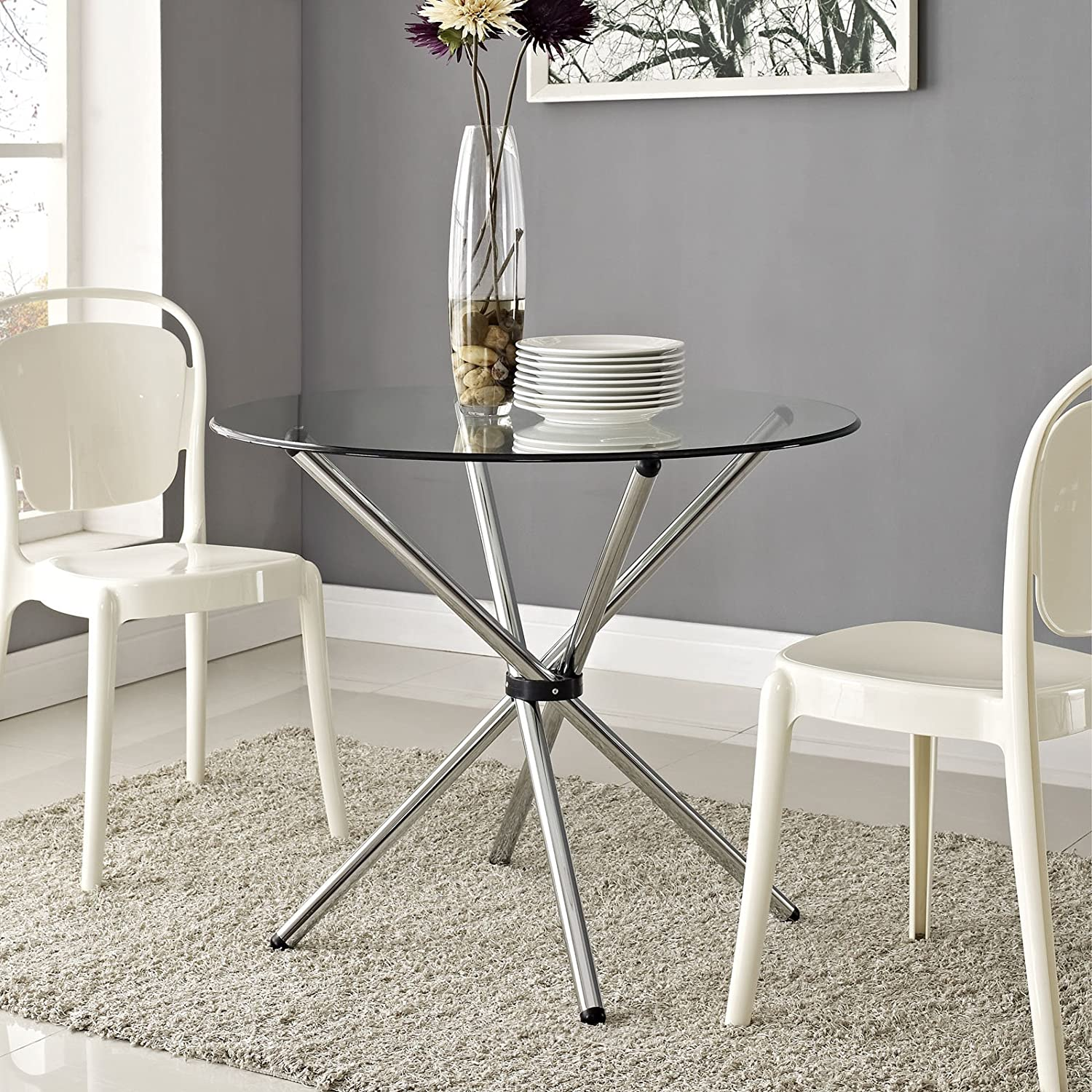 Modway Baton 36 Modern Kitchen and Dining Table with Round Glass Top and Stainless Steel Base