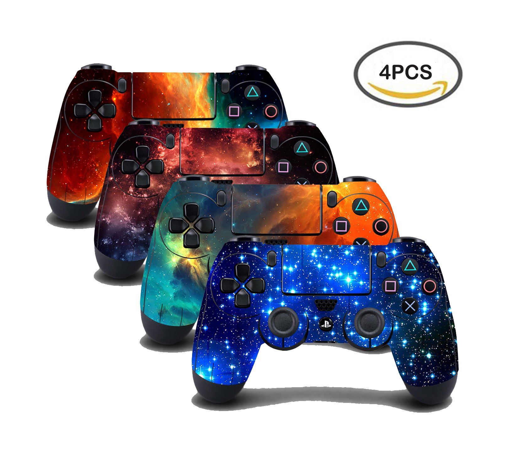 UUShop 4PCS Vinyl Skin Sticker Decal Cover for Playstation4 PS4 Controller - Galaxy Starry - 4 differences style by UUShop
