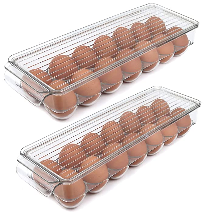 Greenco GRC4419 Stackable Refrigerator Storage Bin With Lid, Stores 14 Eggs, Clear-2 Pack, Medium