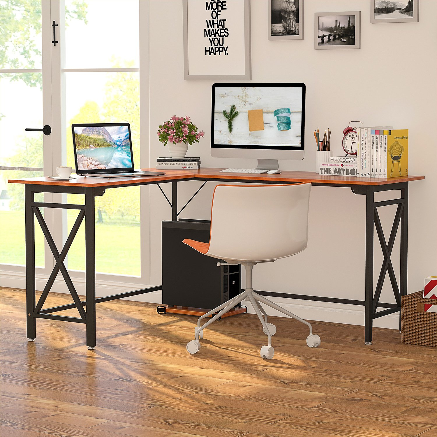 LITTLE TREE L Shaped Corner Computer Desk for Small Office Home, 59.14 L x 51.18 W x 19.69 D x 30.31 H , Rosewood