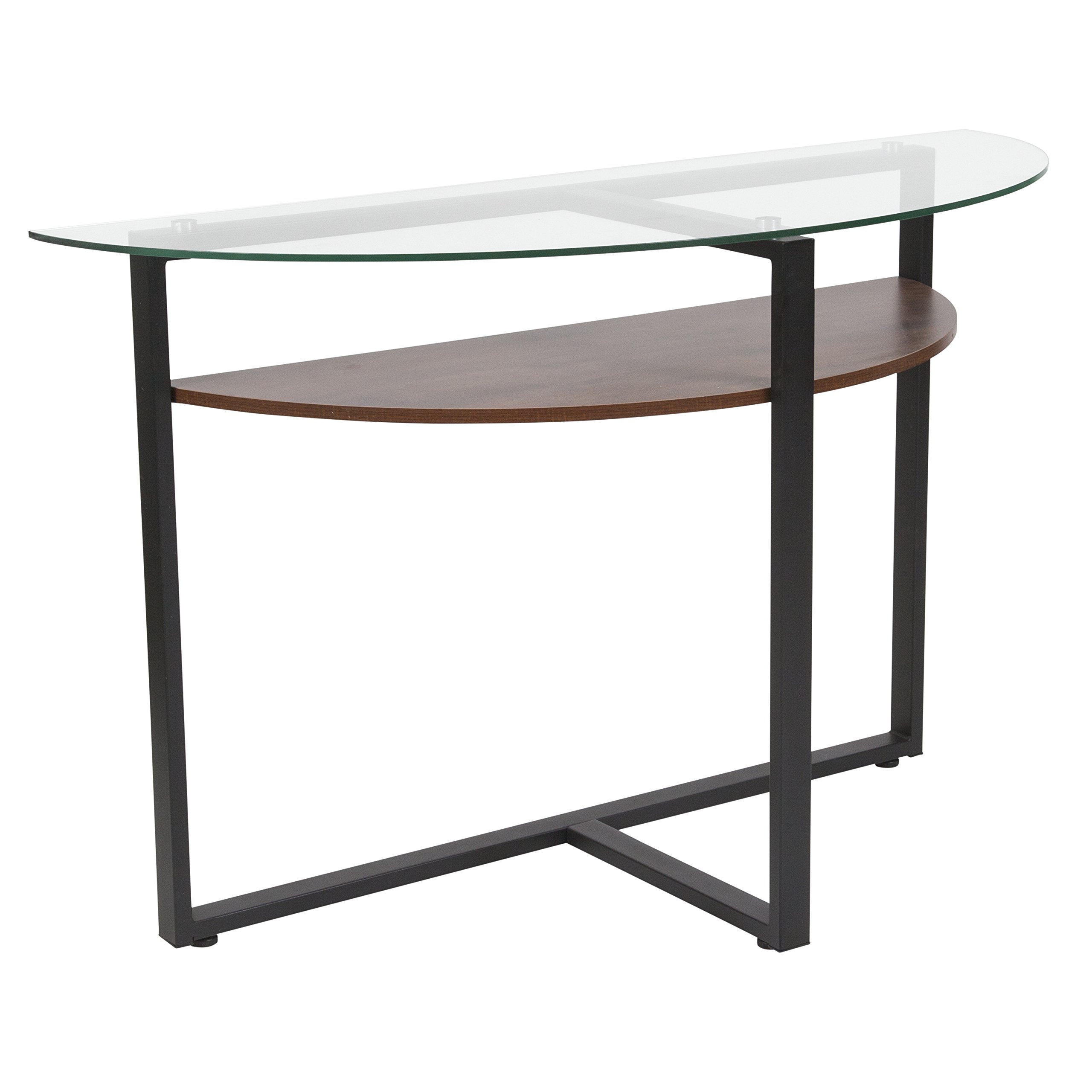 Flash Furniture Princeton Collection Glass Console Table with Rustic Oak Wood Finish and Black Metal Legs