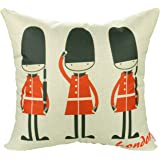 """Luxbon - Lovely British Royal Guards Love London Cotton Linen Throw Pillow Case Cushion Cover 18 x 18""""/45X45CM Insert Not Included"""