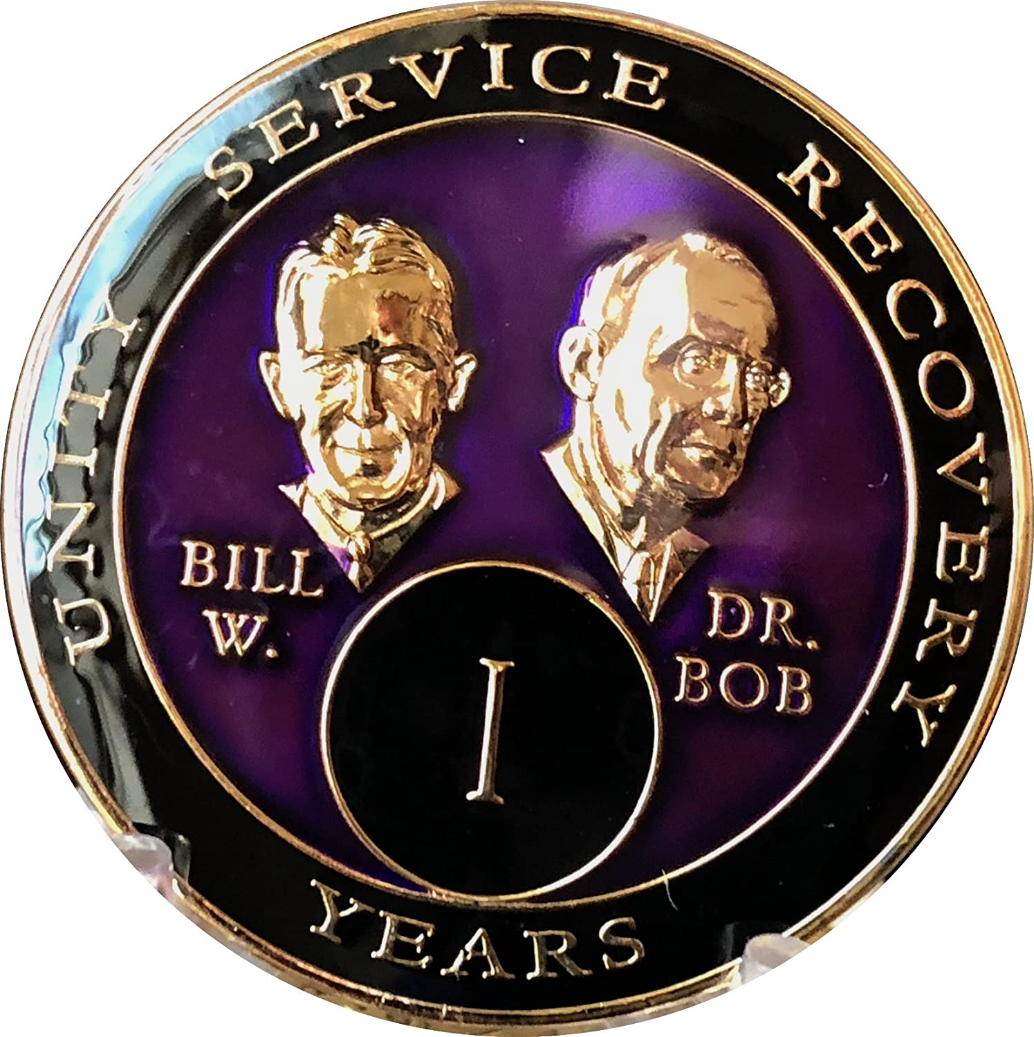 AA Bill/&Bob Red Gold 25 Year Coin Tri-Plate Alcoholics Anonymous Medallion+Stand