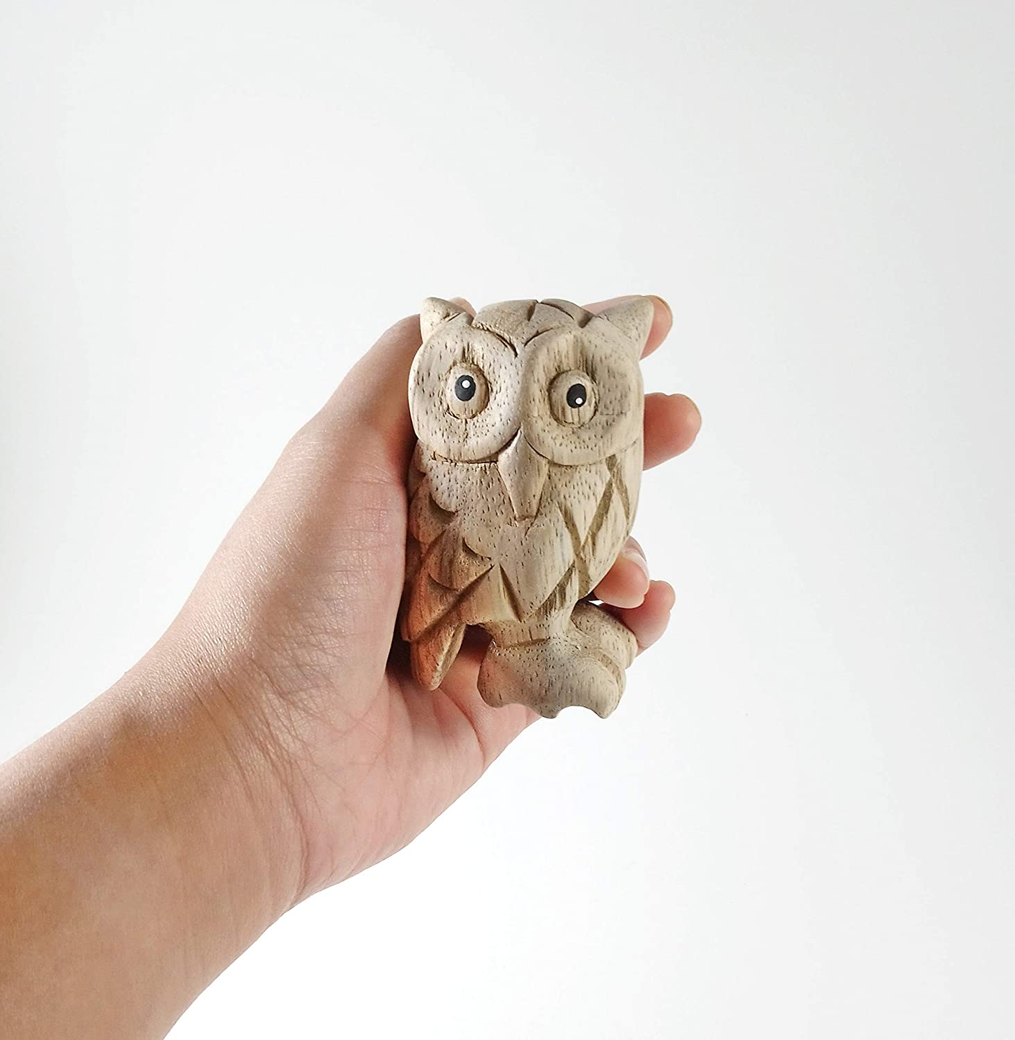 Animal Doll Figurine Thai Arts /& Creations 1 pc 4 inches Collectibles Decor Modern Handmade Natural Unfinished Wooden Carved Owl
