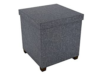 Amazing Dar Living Storage Ottoman 17X17 Dark Gray Ncnpc Chair Design For Home Ncnpcorg