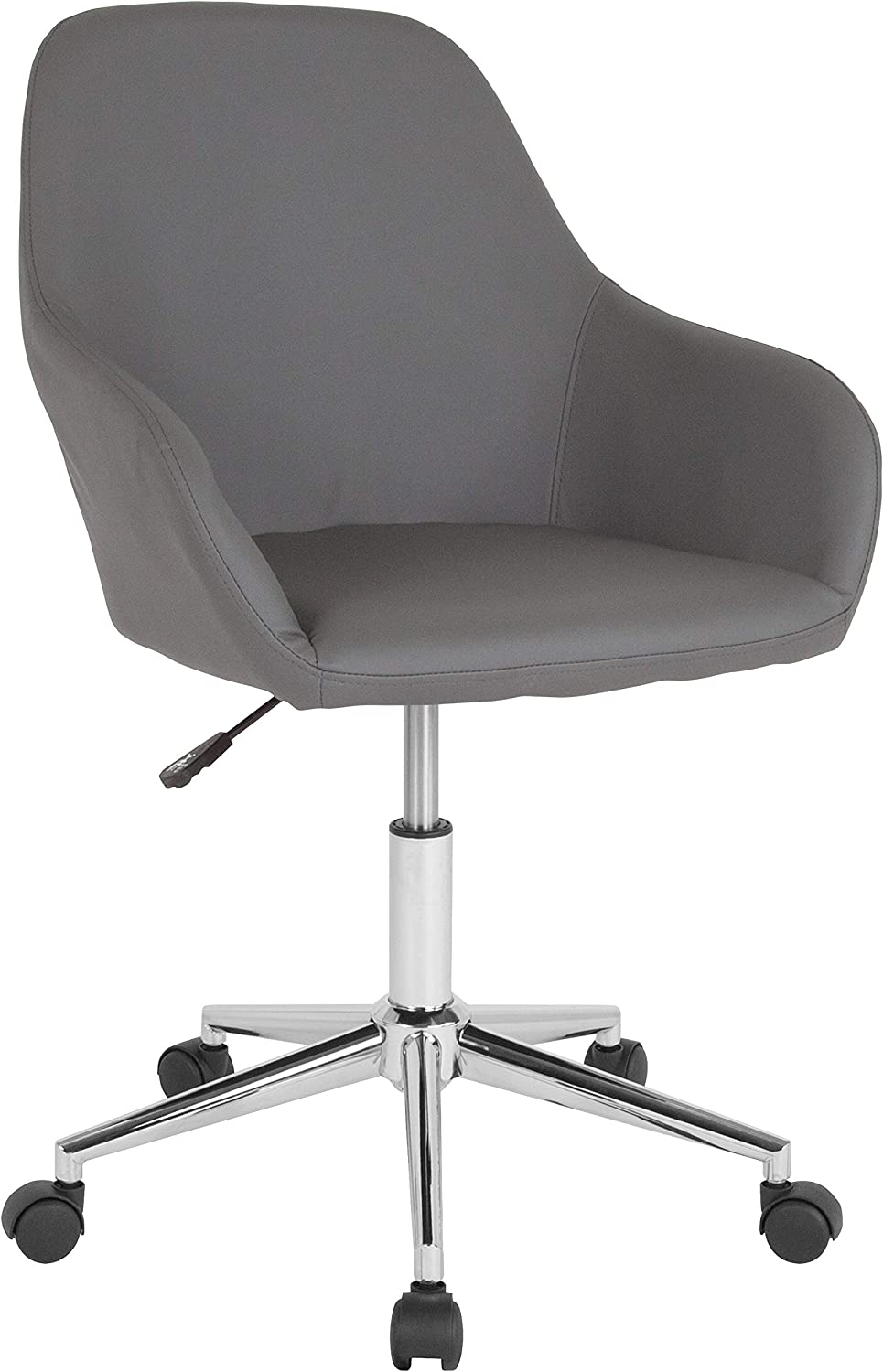 Flash Furniture Cortana Home and Office Mid-Back Chair in Gray LeatherSoft