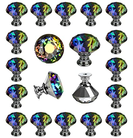 25 Pcs Crystal Colorful Glass Drawer Pulls 30 Mm Decorative Knobs