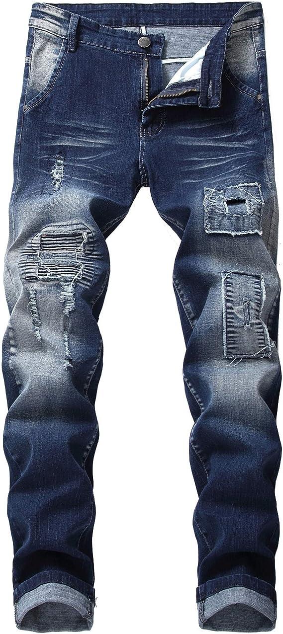 メンズジップワイドパンツ ジーンズカジュアルパンツオートバイのジーンズ若者たちの新しいパッチの穴 エフェクトライトウォッシュ (Color : Blue, Size : 29)
