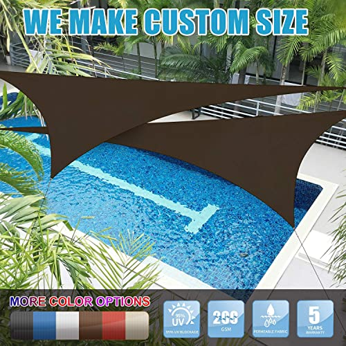 Amgo Custom Size Right Triangle 8 x 8 x 11.3 Brown Triangle Sun Shade Sail Canopy Awning, 95 UV Blockage, Water Air Permeable, Commercial and Residential Available for Custom Sizes