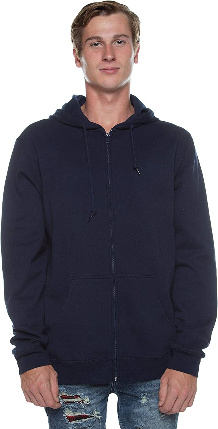 Cottonhood Mens Modern Fit Lightweight Super Soft Full Zipper Fleece Hoodie Sweatshirt XS-3XL