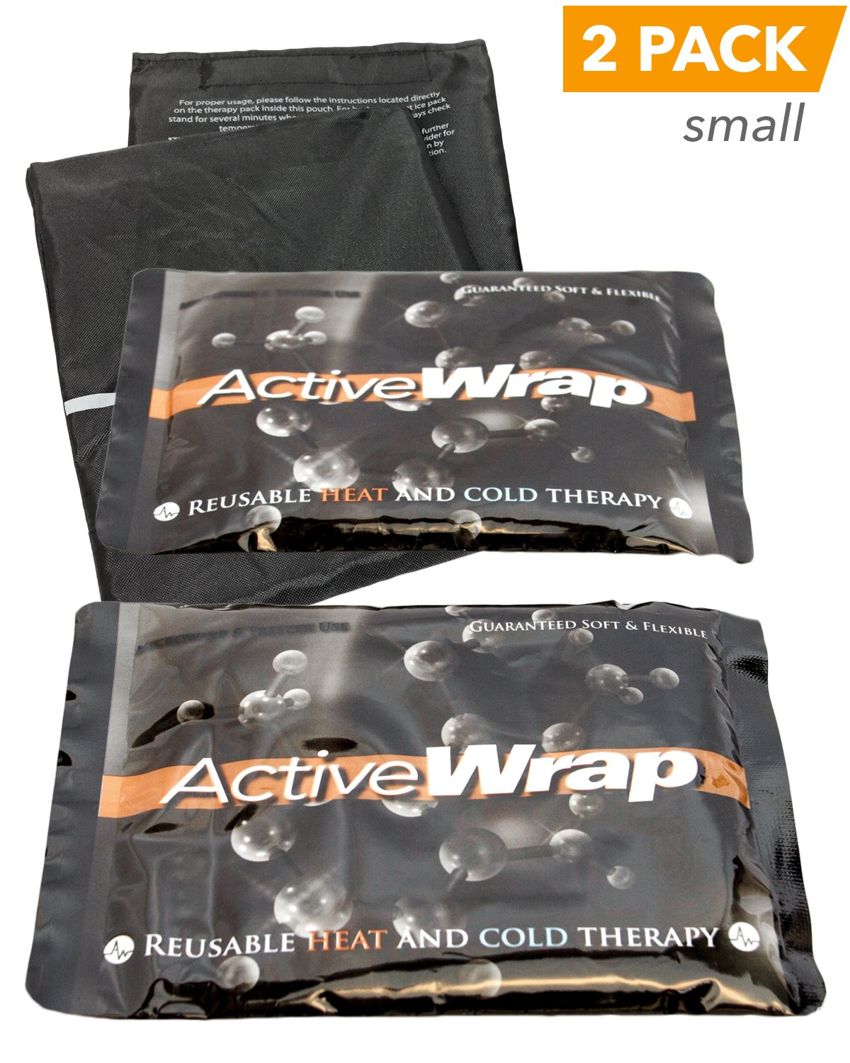 AW ACTIVEWRAP Heat/Ice Packs - Soft and Flexible, Leak-Proof Thermal Design, Compatible with ActiveWrap Foot, Wrist, and Elbow Wraps (BAWP005)