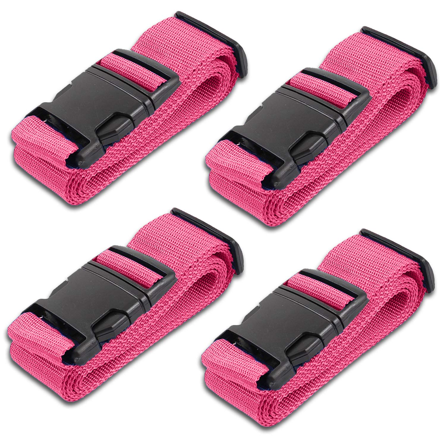 HeroFiber Pink Luggage Belts Suitcase Straps Adjustable and Durable, Travel Case Accessories, 4 Pack