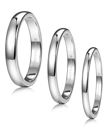 Tungary 3 Pcs Tungsten Carbide Rings for Men Women Wedding Band Engagement  Promise Domed 2-4mm Size 3-12
