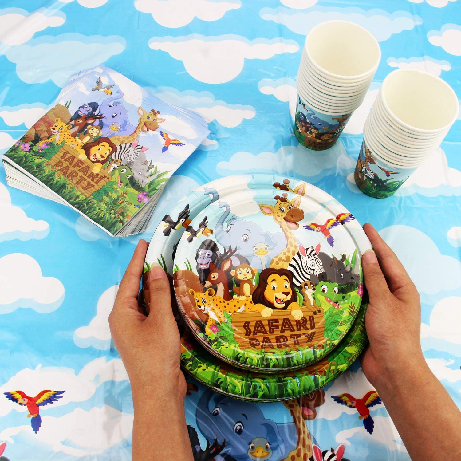 102 Piece Safari Animal Party Supplies Set Including Banner Napkins Plates Serves 25 Cups and Tablecloth