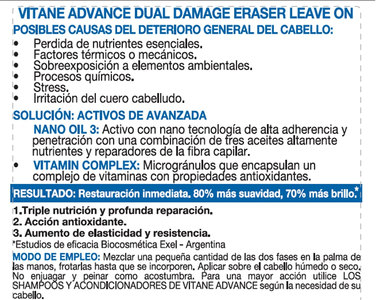 Amazon.com : VITANE DUAL DAMAGE ERASER, Las dos fases se mezclan para dejar el cabello recuperado, fuerte y brillante. The two phases are mixed to le ave ...