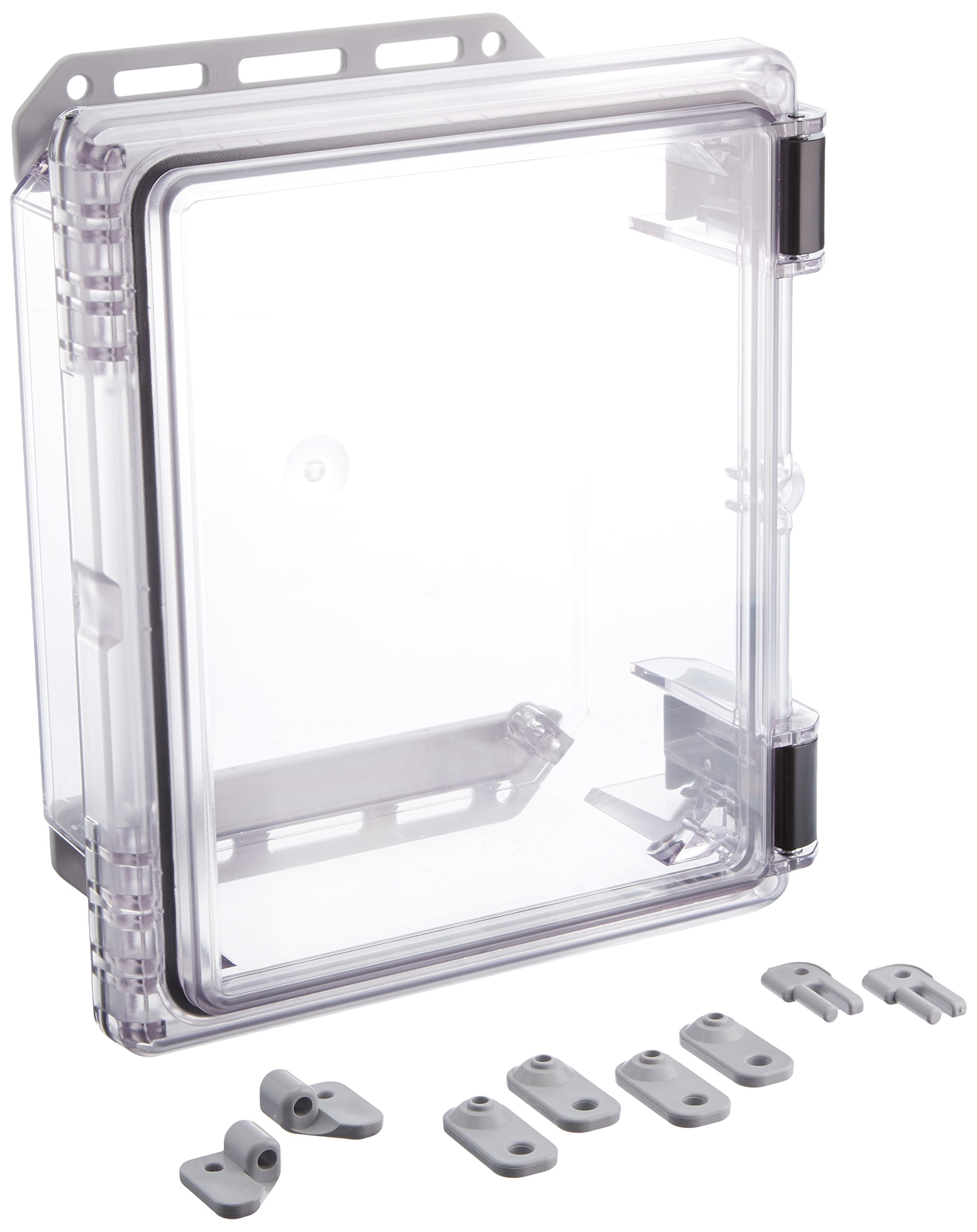 Serpac I342HL Polycarbonate Plastic Enclosure, 11-3/4'' Length x 9.98'' Width x 5.45'' Height, Clear Top/Bottom
