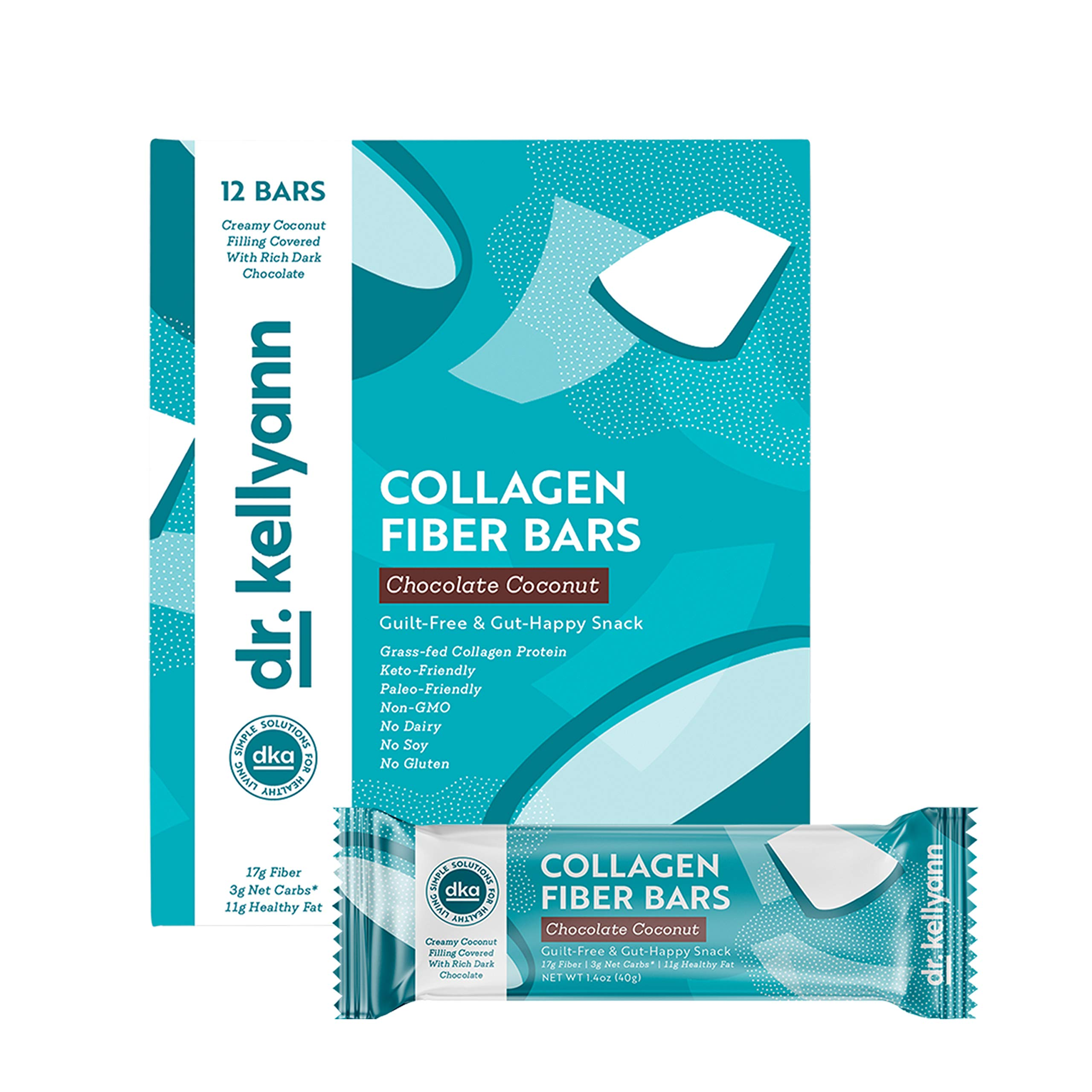 Keto Collagen Fiber Bar - High Fiber, Low Carbs - Dairy Free, Soy Free, Gluten Free, Non-GMO & No Added Sugar - Perfect Keto & Paleo Snack with Creamy Coconut Inside Dipped in Dark Chocolate (12 bars) by Dr. Kellyann (Image #4)