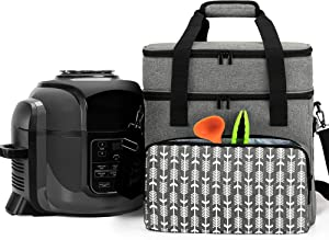 YARWO Carrying Bag Compatible with 6-8 qt Ninja Foodi, Pressure Cooker Storage Bag with Pockets and Top Compartment for Kitchen Accessories, Gray with Arrow (PATENTED DESIGN)