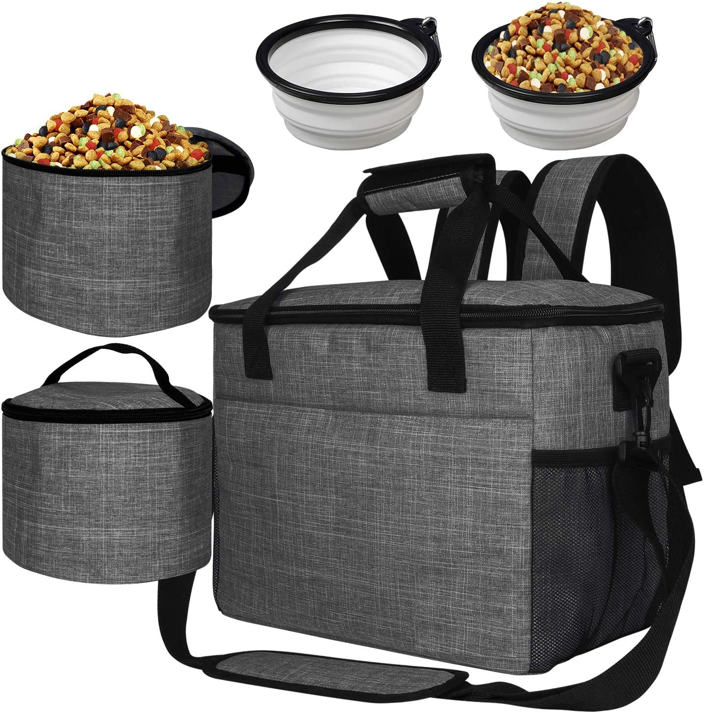 BAGLHER 丨Dog Travel Bag,Pet Supplies Backpack,Pet Accessories Storage Bag 5-Piece Set,with Shoulder Strap,2 Lined Pet Food Containers,4 Foldable Feeding Bowls. Essential Kit for Pet Travel.
