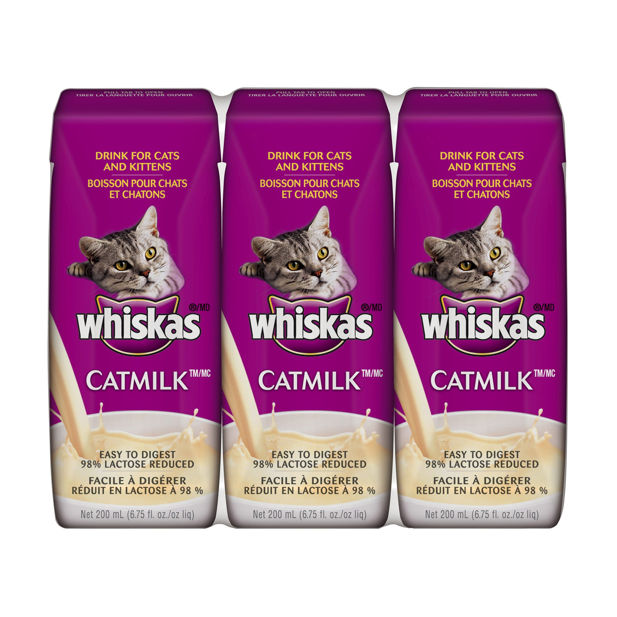 WHISKAS CATMILK PLUS Drink for Cats and Kittens 6.75 Ounces (Eight 3-Count Boxes)