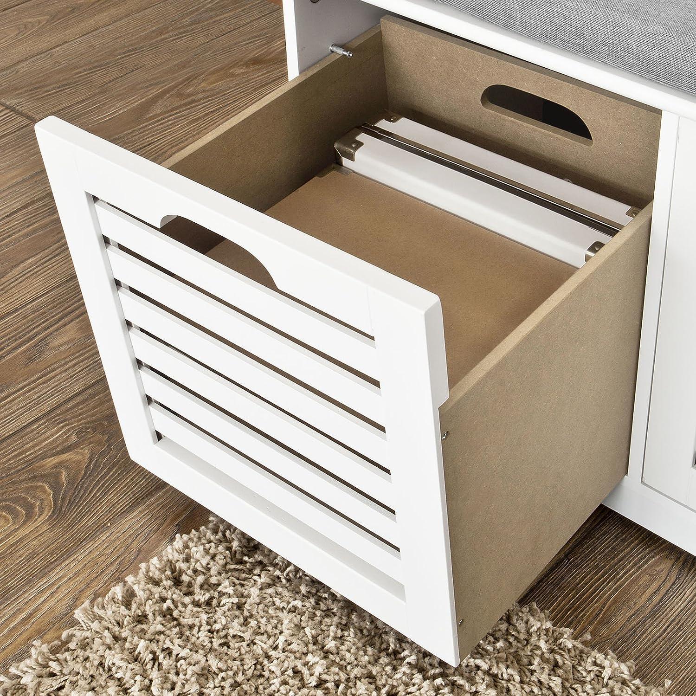SoBuy/® Moderne Schuhtruhe,Sitzkommode mit 3 K/örben,Sitzbank Schuhschrank mit Sitzkissen,Spieltruhe FSR23-W
