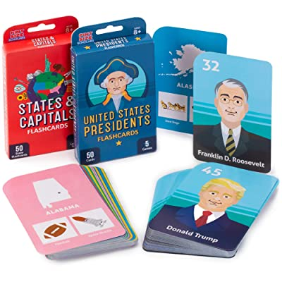 Social Studies Mastery Pack - States & Capitals and U.S. Presidents Flashcards with Educational Games - Basic USA Trivia for Kids, Ages 8 and Up - Memory, Studying, & Teaching Aids & Activities: Toys & Games