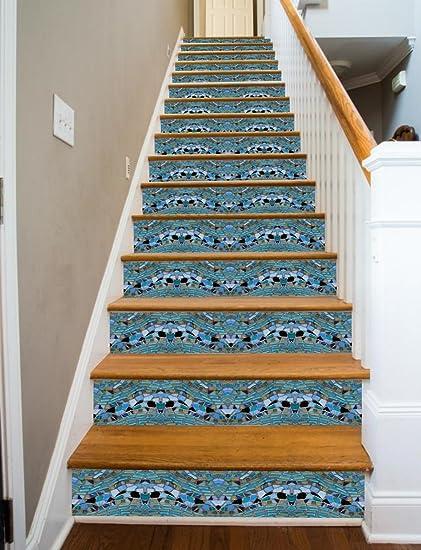 Glass Mosaic Stairs RiserArt 37u0026quot; X 14 Painted Stairway Decoration  Adhesive Vinyl Stair Riser Panels