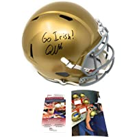$189 » Quenton Nelson Notre Dame Fighting Irish Signed Autograph Speed Full Size Helmet GO IRISH Inscribed JSA Witnessed Certified