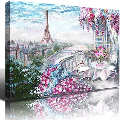 Eiffel Tower Garden Landscape Painting Canvas Prints Wall Decor Paris Town Gallery Wrapped Wall Art Picture 1 Panel For Kitchen Bedroom Home Decoration Modern Blossoming Flower Artwork Framed 12x16 Home