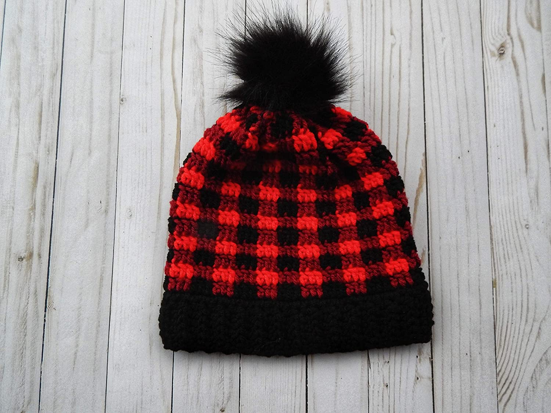 f5983743a Amazon.com: Crochet red and black buffalo plaid hat: Handmade