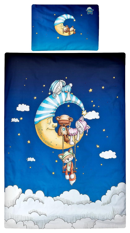 Aminata Kids Schlafmütze-n Kinder-Bettwäsche 100x135 cm Jungs Mond Wolke-n dunkel-blau Weiss-e Baumwolle Kuschel-Tier Lizenz Katze Bär Einhorn