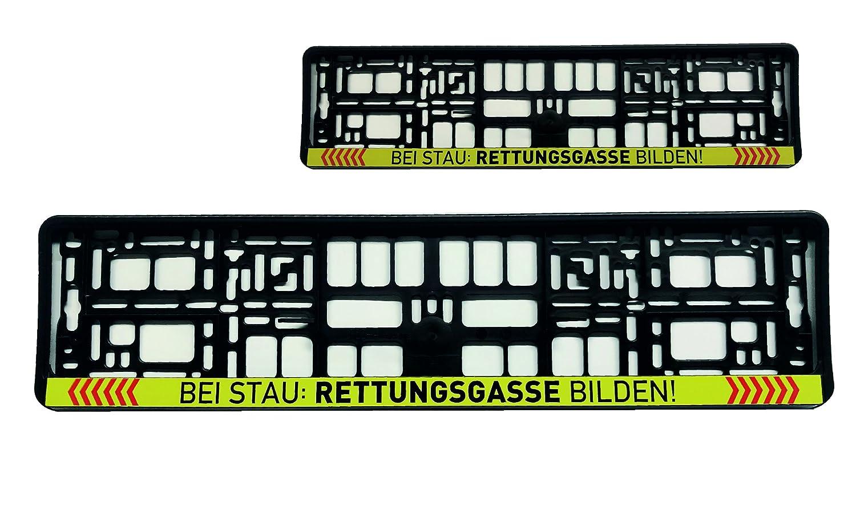 1x Kennzeichenhalter NummerschildhalterBei Stau Rettungsgasse bilden Feuerwehr Warenfux24
