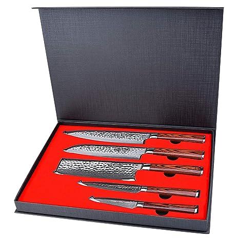 Amazon.com: Yarenh Juego de 5 cuchillos de chef ...